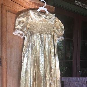 Handsmocked gold lame dress